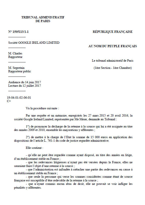 France vs  Google, July 2017, Administrative Court