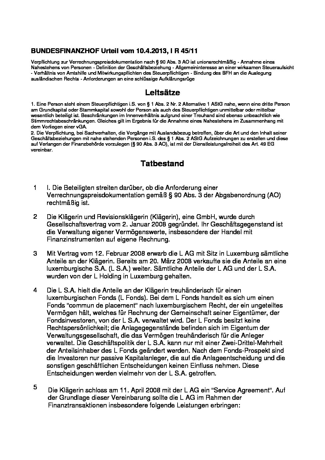 Germany vs corp april 2013 supreme tax court judgment i for Transfer pricing agreement template