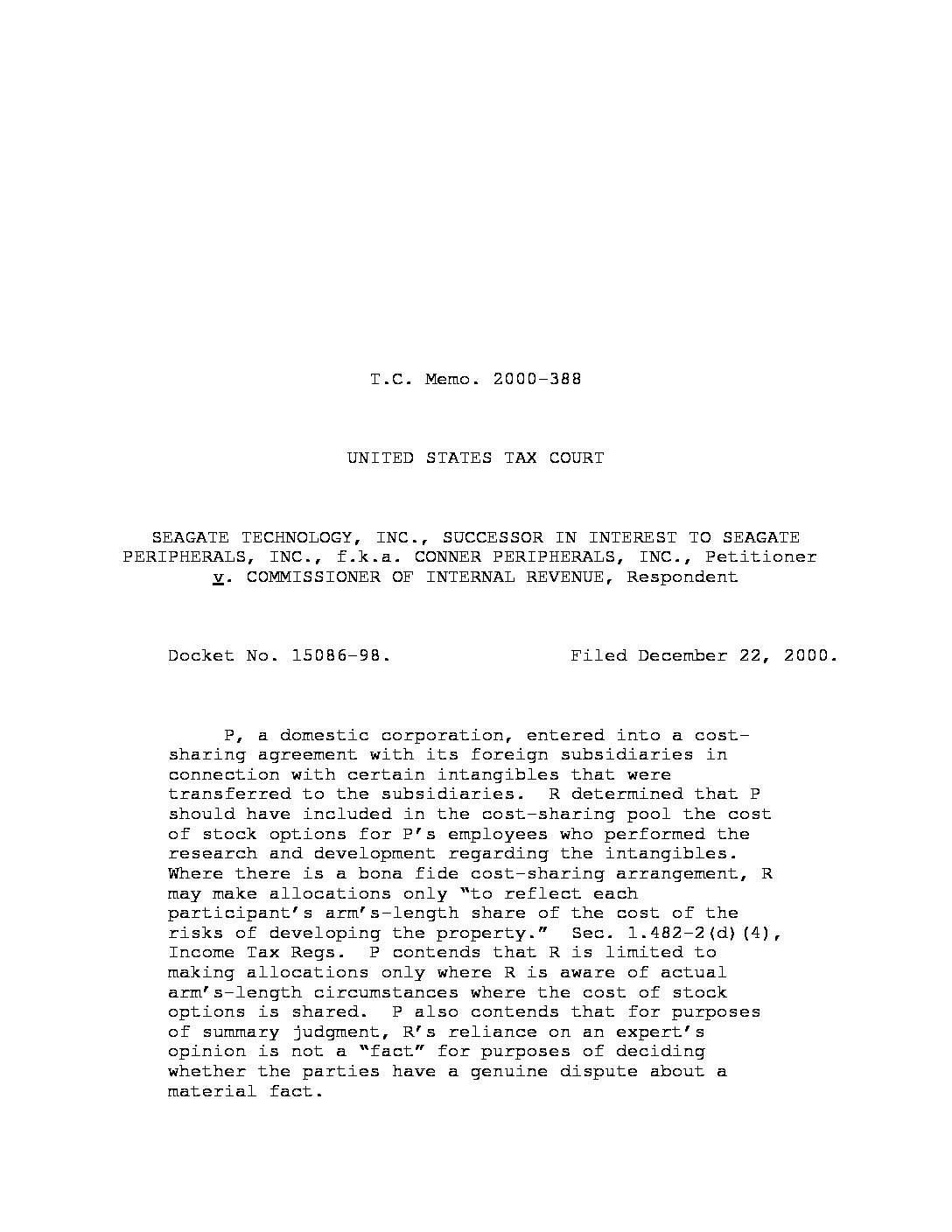 Cost Sharing Agreement Transfer Pricing Case Law At Page 2 Of 2