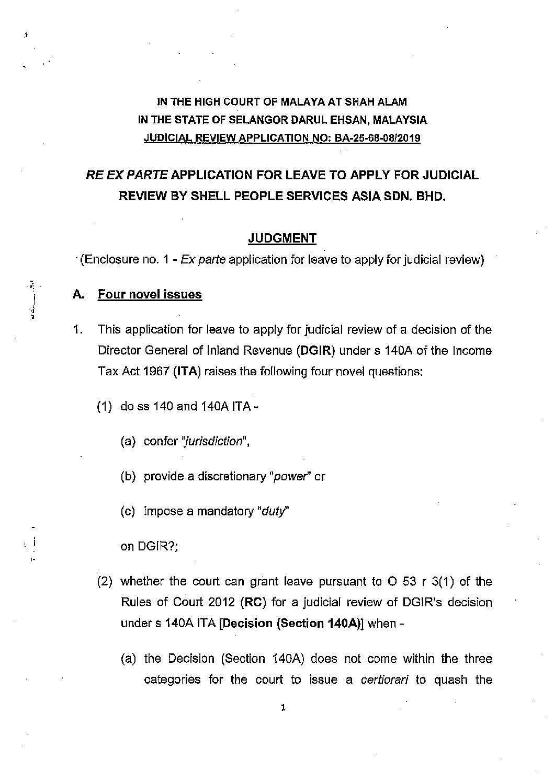 Malaysia Vs Shell Services Asia Sdn Bhd November 2019 High Court Case No Ba 25 68 08 2019 Tpcases Com