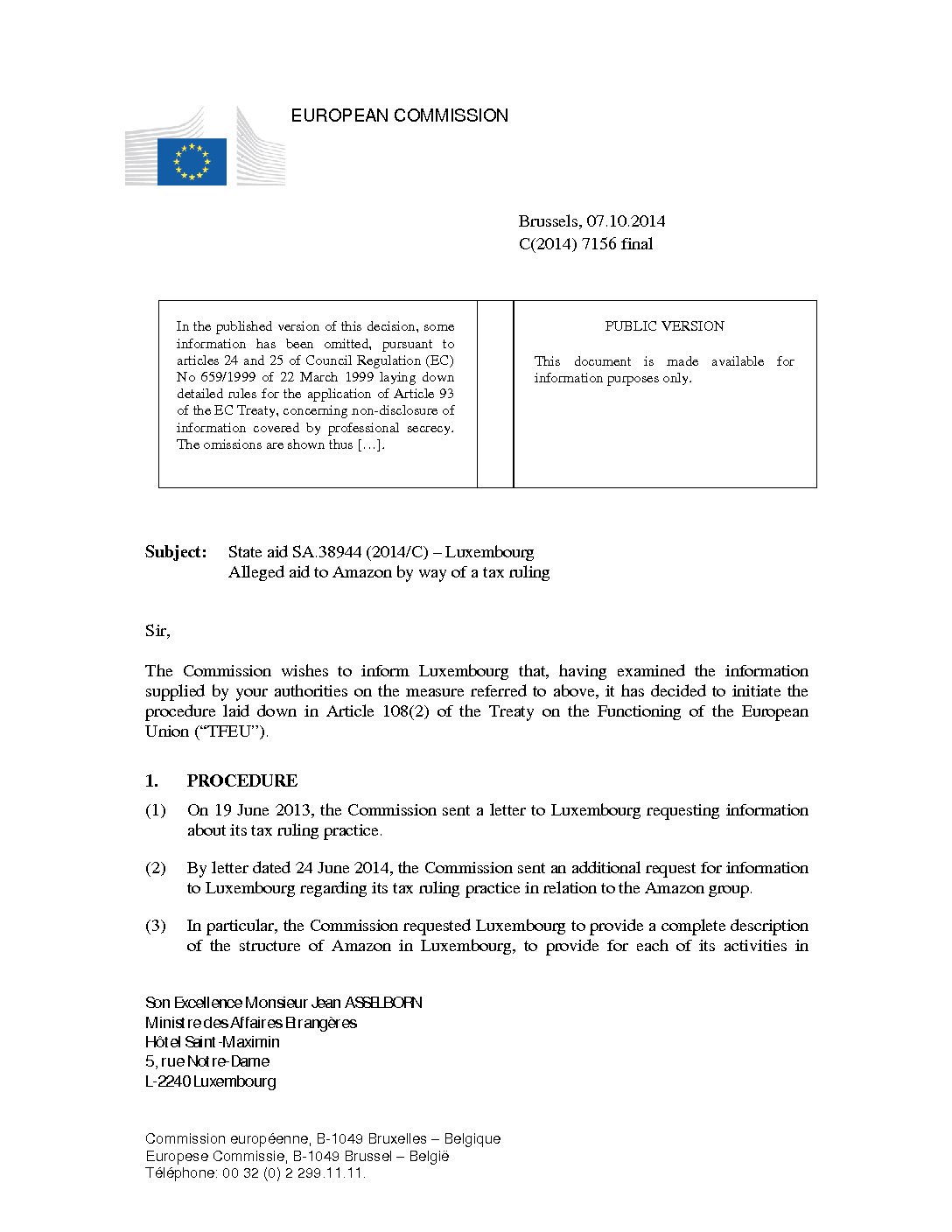 European Commission opens investigation of transfer pricing arrangements on corporate taxation of Amazon in Luxembourg, October 2014